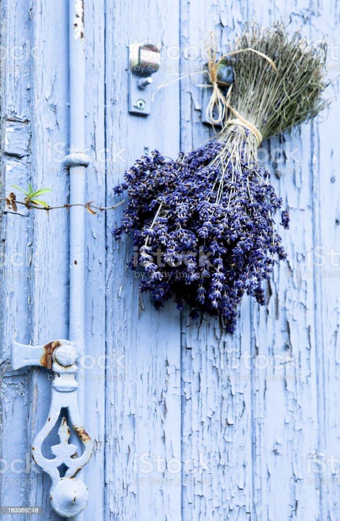Provence door, lavander bouquet stock photo
