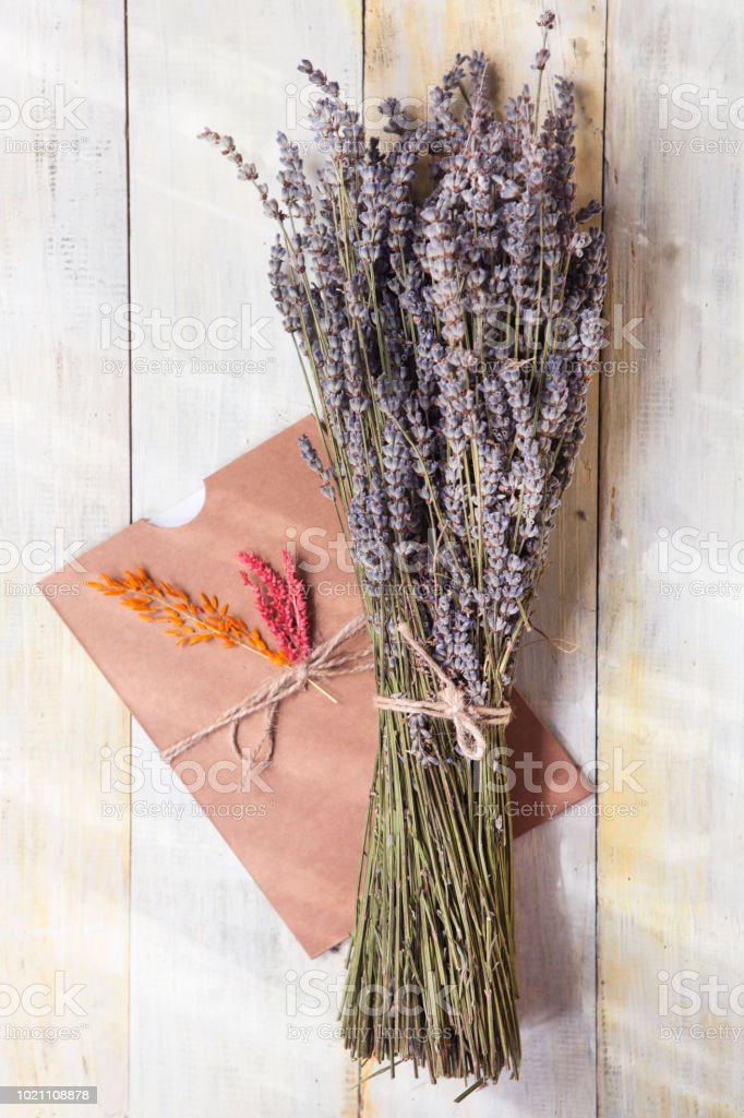 Provence Dried Lavender with handmade gift card on wooden table stock photo