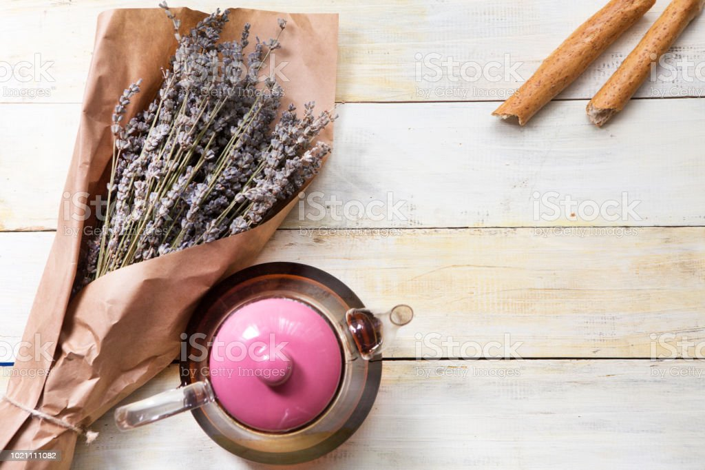 Provence Dried Lavender with teapot on wooden table stock photo