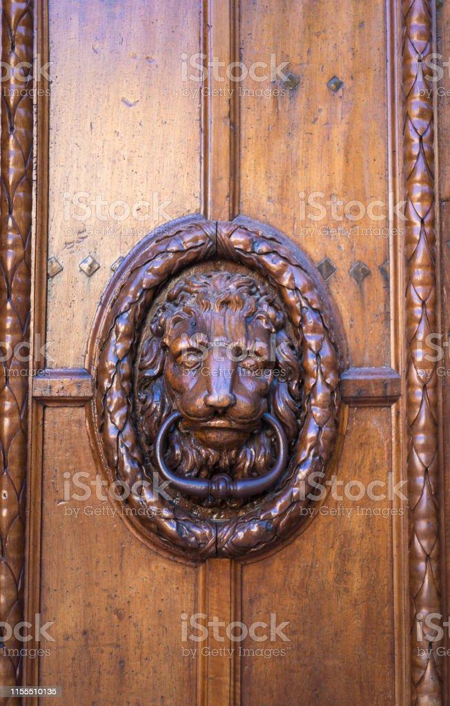 Provence France Antique Carved Lion Door Knocker On Wood ...
