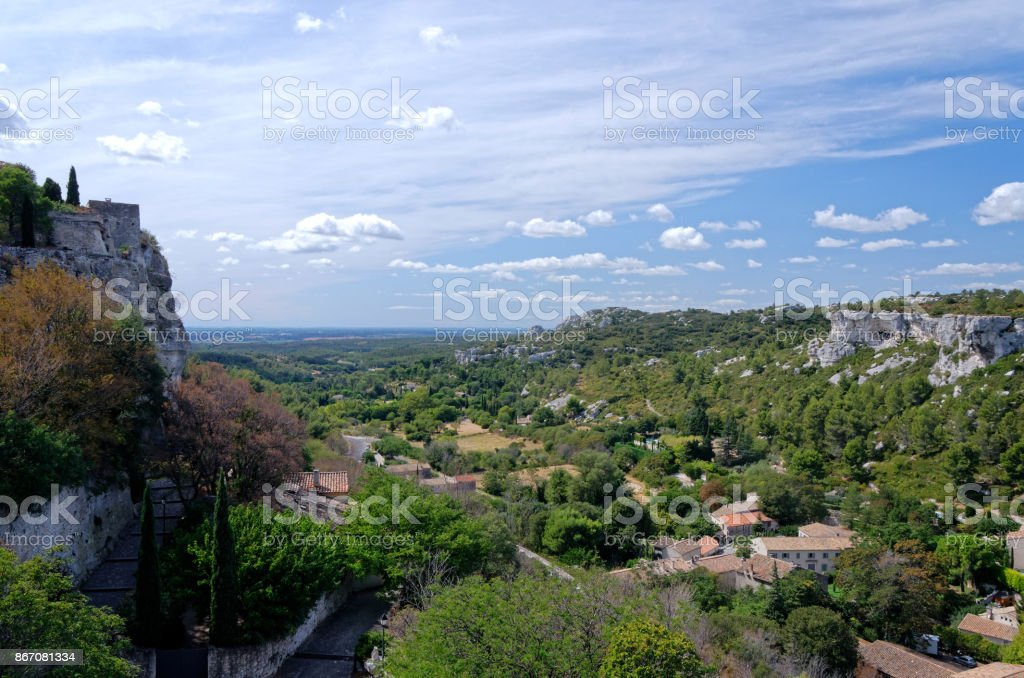 Provence houses at the feet of arid hills stock photo