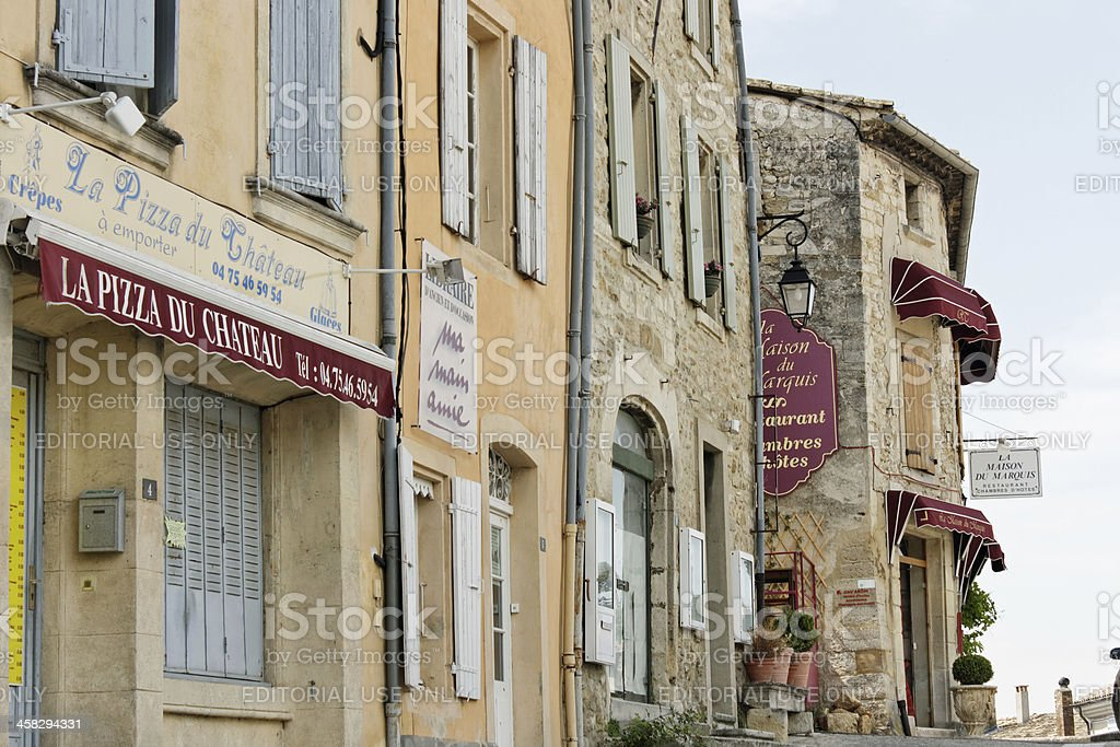 Provence: Picturesque alley with restaurants in Grignan stock photo