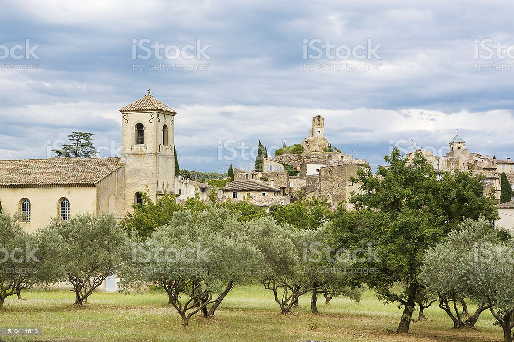 Provence village Gordes scenic overlook stock photo