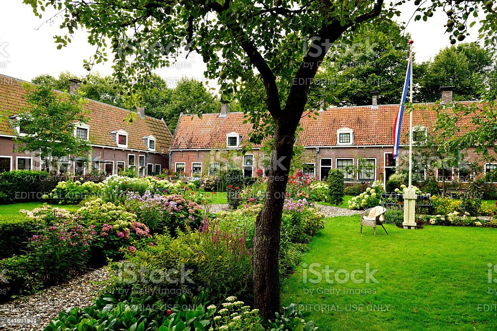Provenier almshouses in Edam stock photo