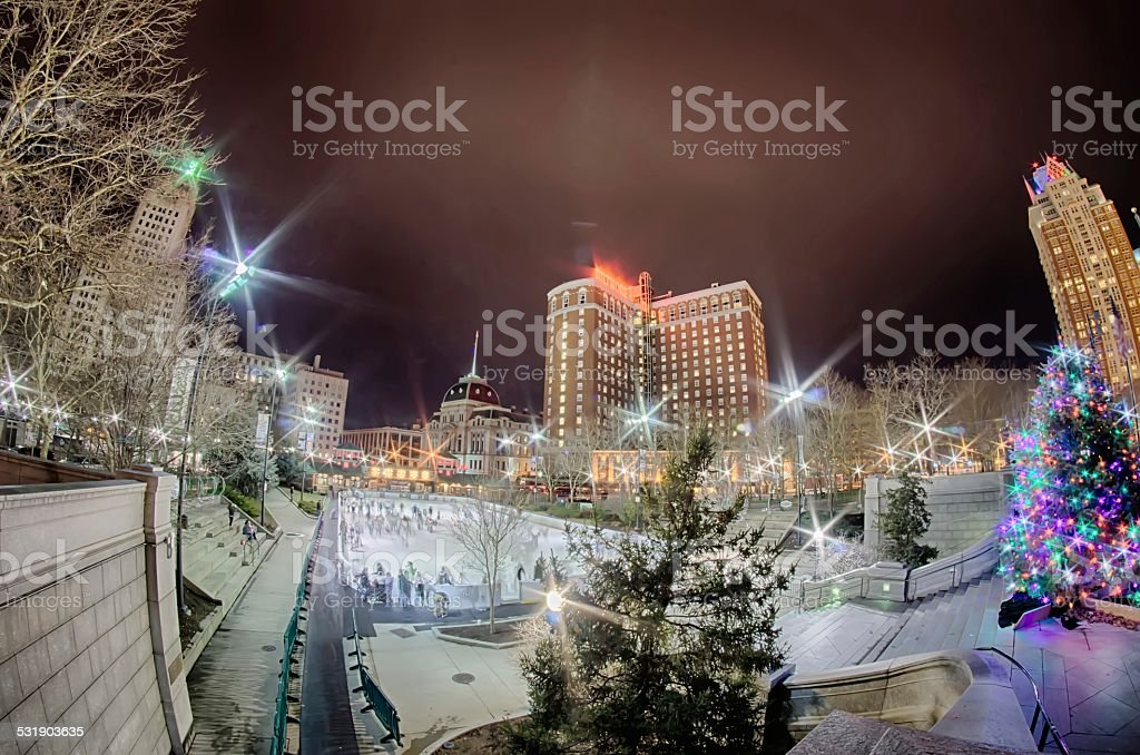 Providence rhode island downtown at night stock photo