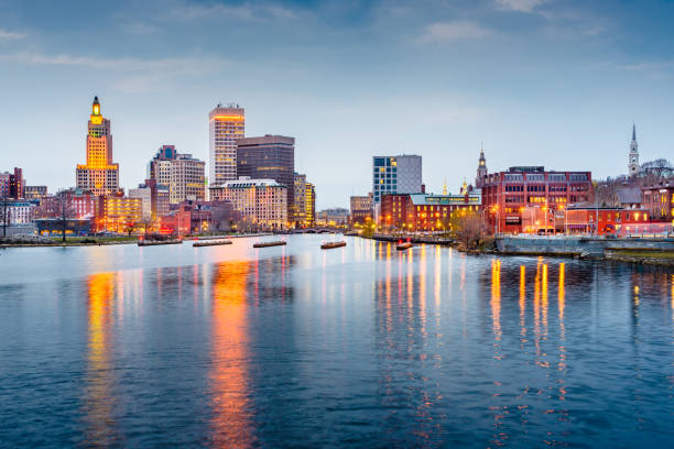 Providence, Rhode Island downtown cityscape viewed from above the Providence River. stock photo