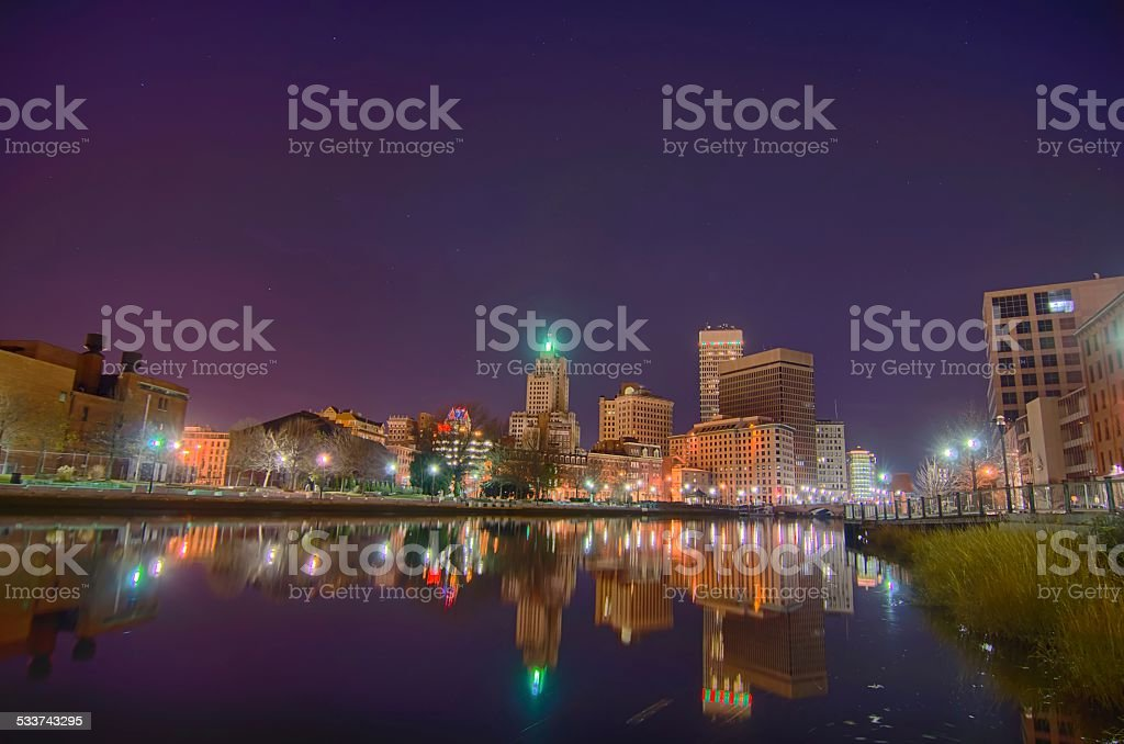 providence Rhode Island from the far side of the waterfront stock photo