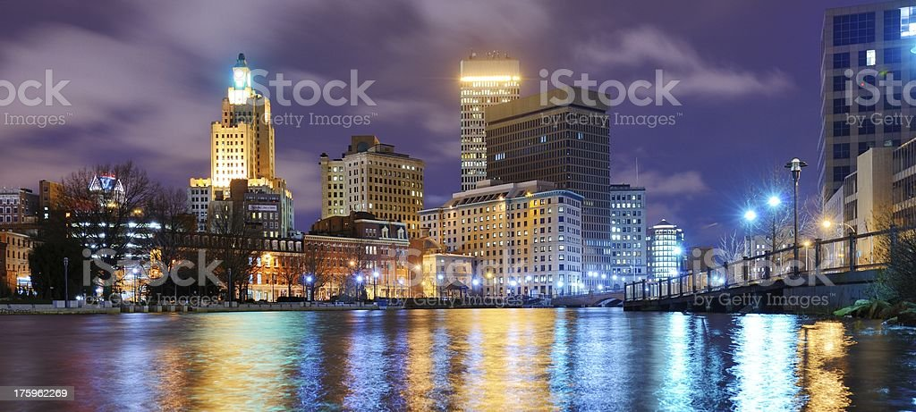 Providence, Rhode Island lakefront and city skyline at night stock photo