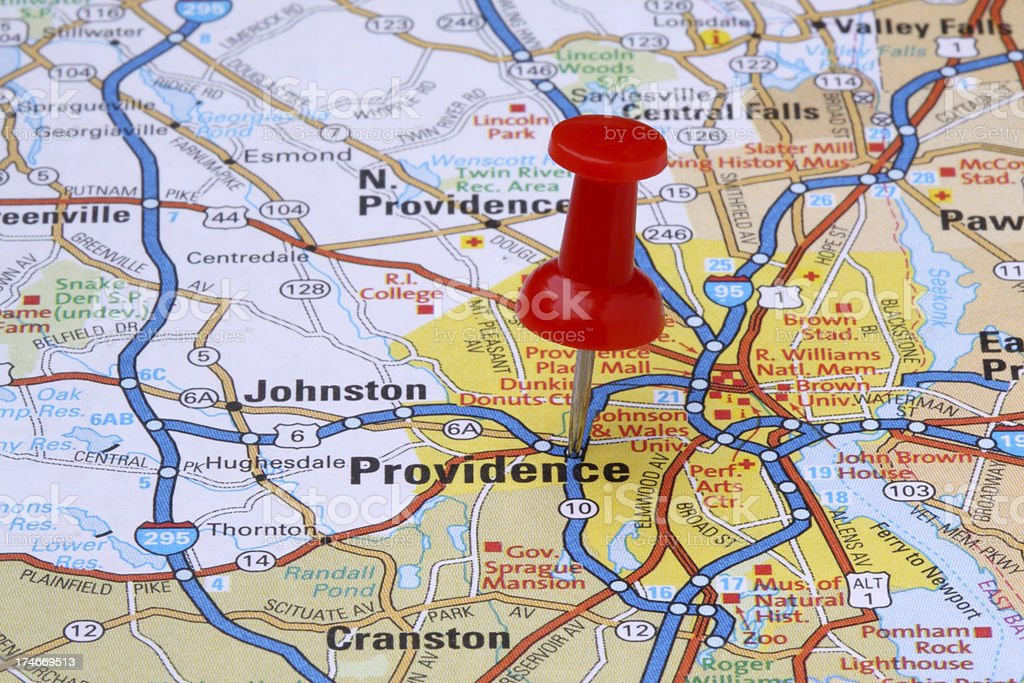 Providence, Rhode Island on a map. royalty-free stock photo