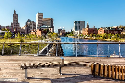 Providence Rhode Island skyline and Providence River, viewed from Pedestrian Bridge