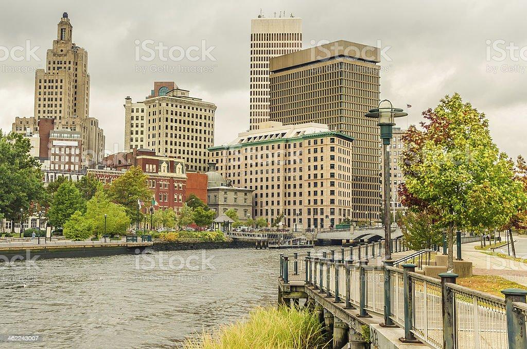 Providence Skyline and Cloudy Sky stock photo