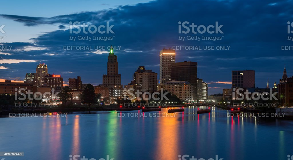 Providence skyline at night stock photo