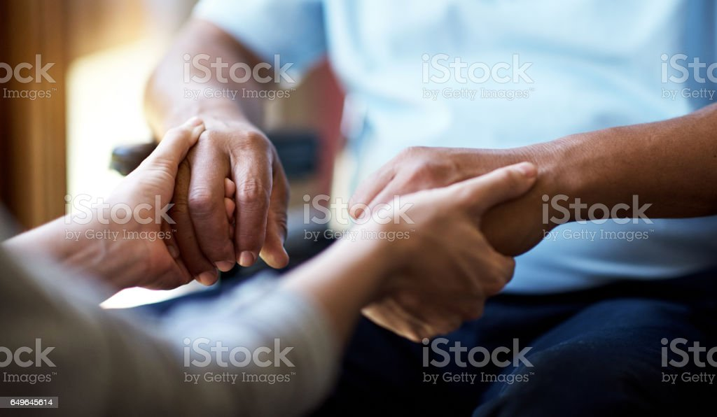Providing comfort in the time of need stock photo