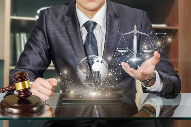 Providing legal services in the network of the Internet. stock photo