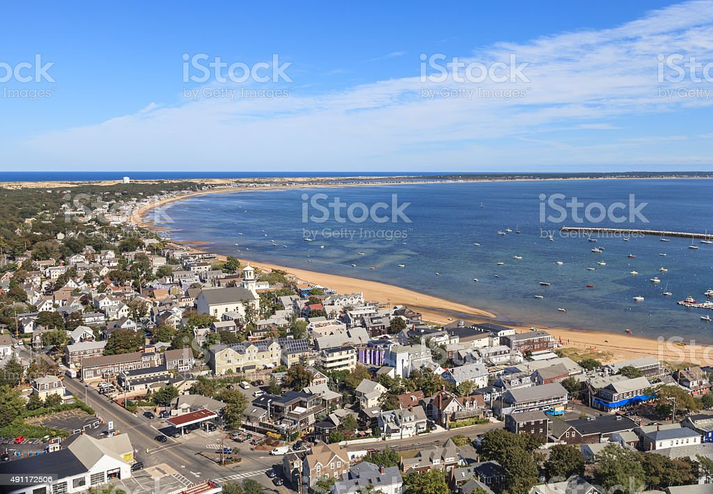 Provincetown, Cape Cod aerial view stock photo