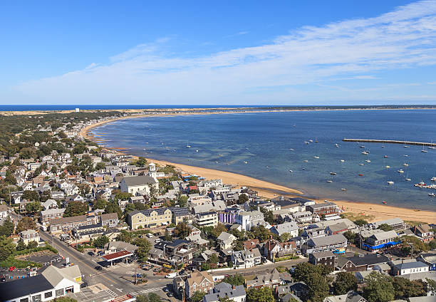 Provincetown, Cape Cod aerial view Provincetown, Massachusetts, Cape Cod city view and beach and ocean view from above. provincetown stock pictures, royalty-free photos & images
