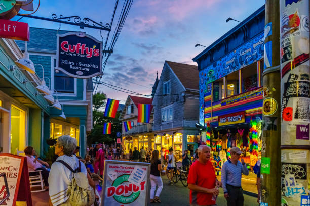 Provincetown Massachusetts August 2017 at the end of Cape Cod Provincetown has a large gay population of residents and tourists. Provincetown Massachusetts USA August 2017 at the end of Cape Cod Provincetown has a large gay population of residents and tourists. provincetown stock pictures, royalty-free photos & images