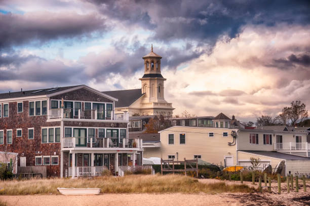 Provincetown massachusetts city view new england The provincetown massachusetts town skyline buildings at sunset in cape cod. provincetown stock pictures, royalty-free photos & images