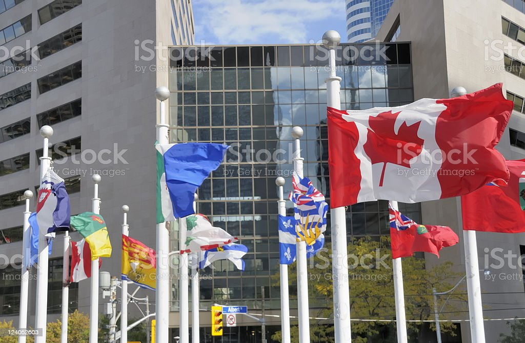 Provincial Flags, Toronto stock photo