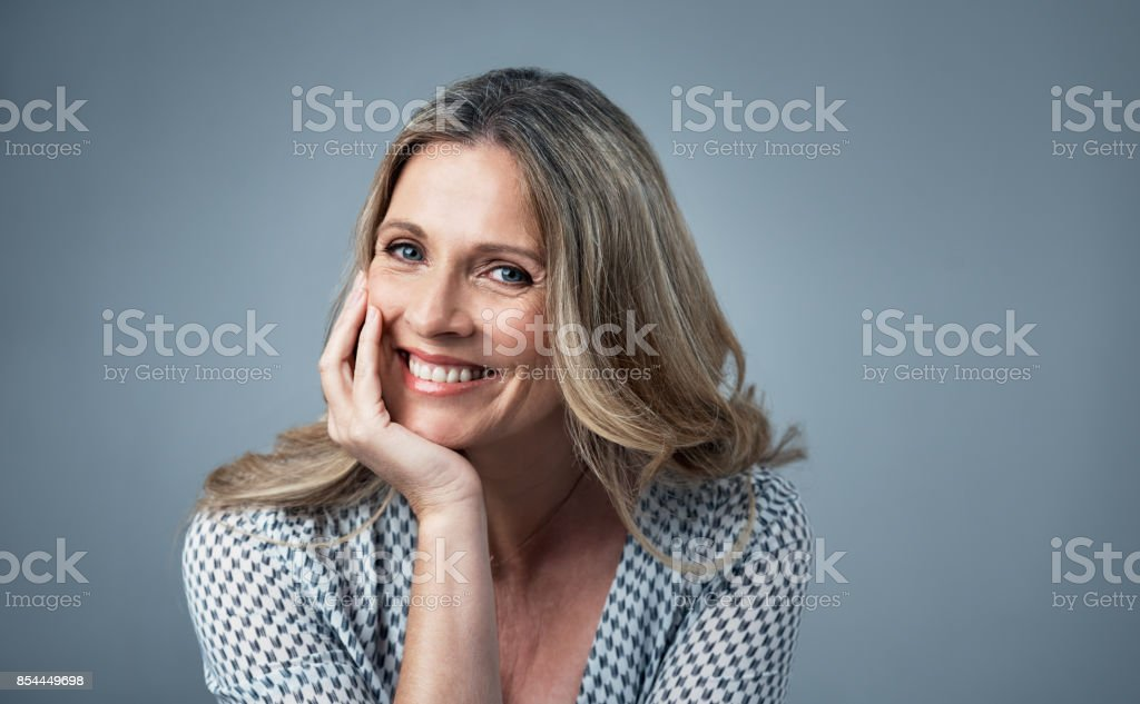 Proving that age is trivial in matters of beauty stock photo