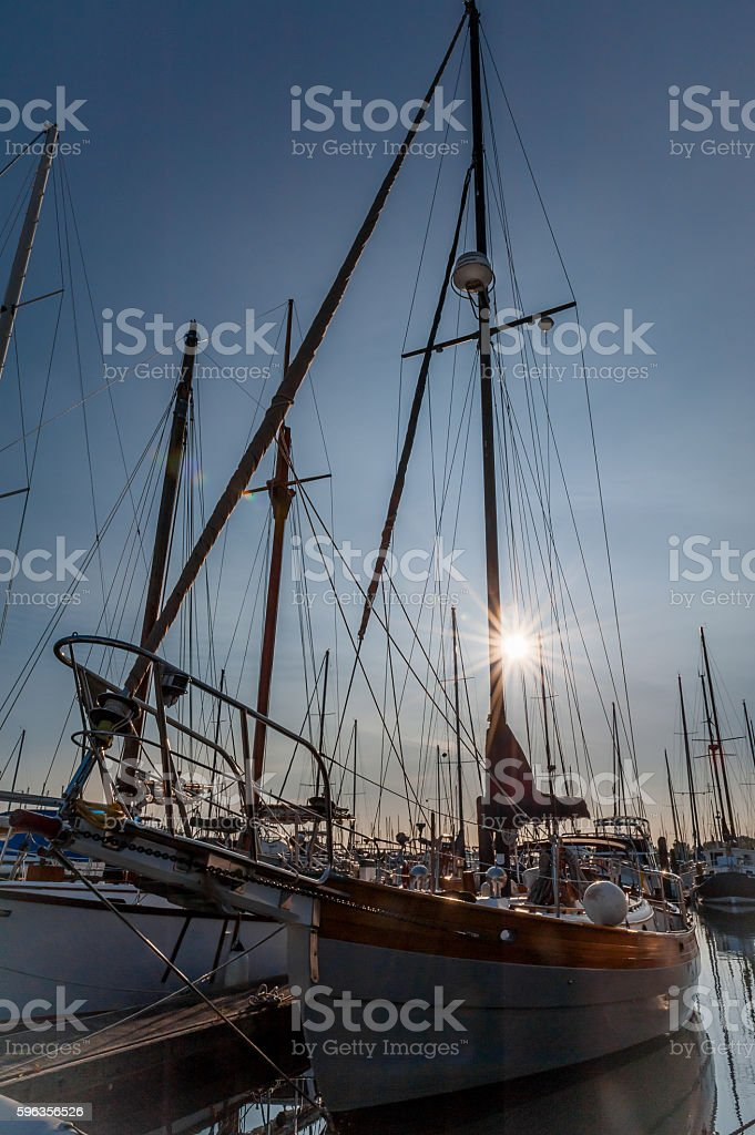 prow and masts at twilight royalty-free stock photo