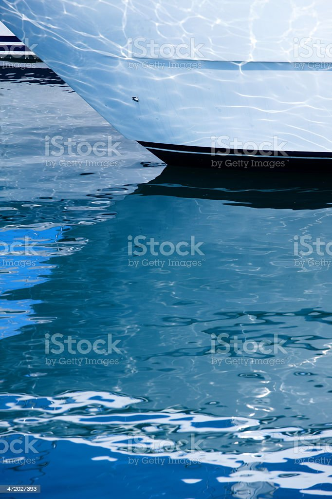 Prow boat reflection stock photo