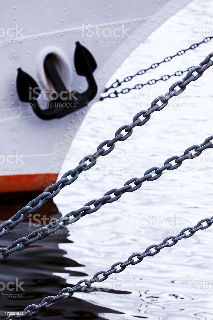 Prow of a ship with reflection in the waves royalty-free stock photo