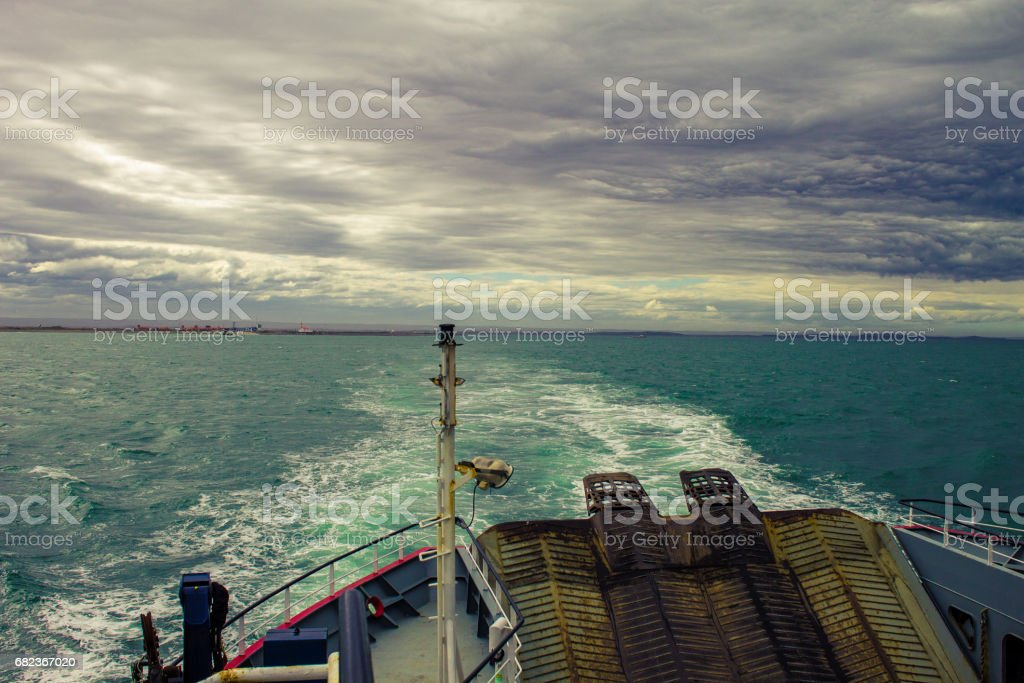 Prow of the ferry crossing the Strait of Magellan, Patagonia Chile, South America. stock photo
