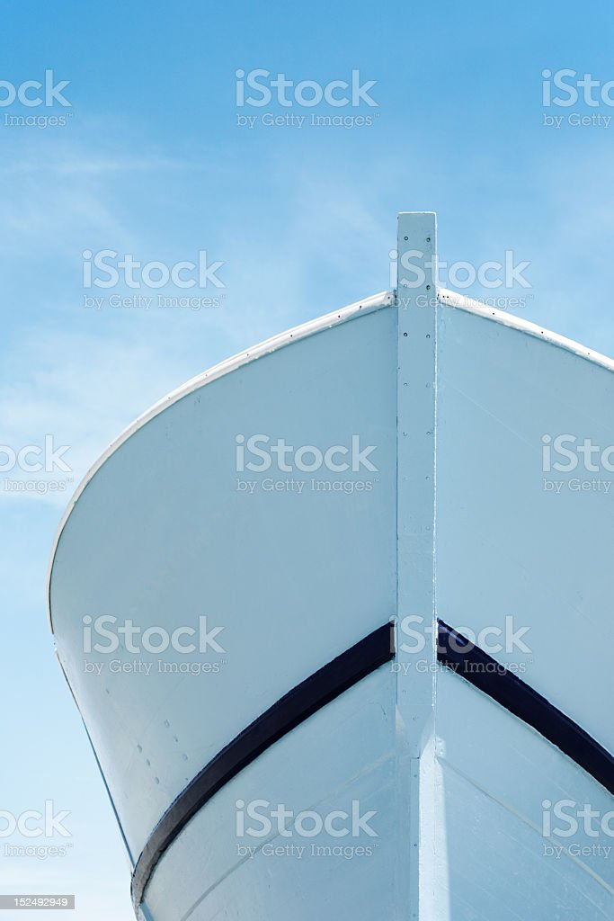 Prow under blue sky stock photo