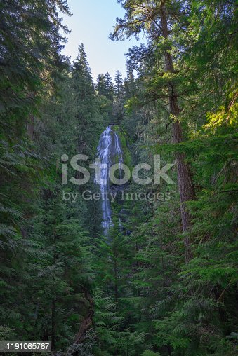 Distant view of Proxy waterfall through the trees in Oregon