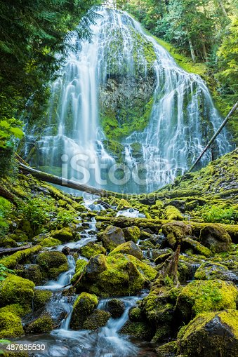 Proxy Falls (sometimes known as Lower Falls or Lower Proxy Falls) in the Three Sisters Wilderness area of Central Oregon.