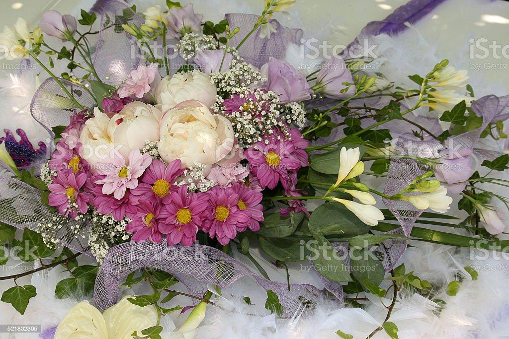 Présentation de fleurs mariage stock photo