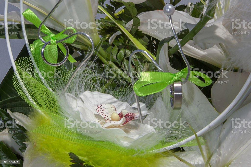 Présentation  orchidée  bouquet de mariée stock photo