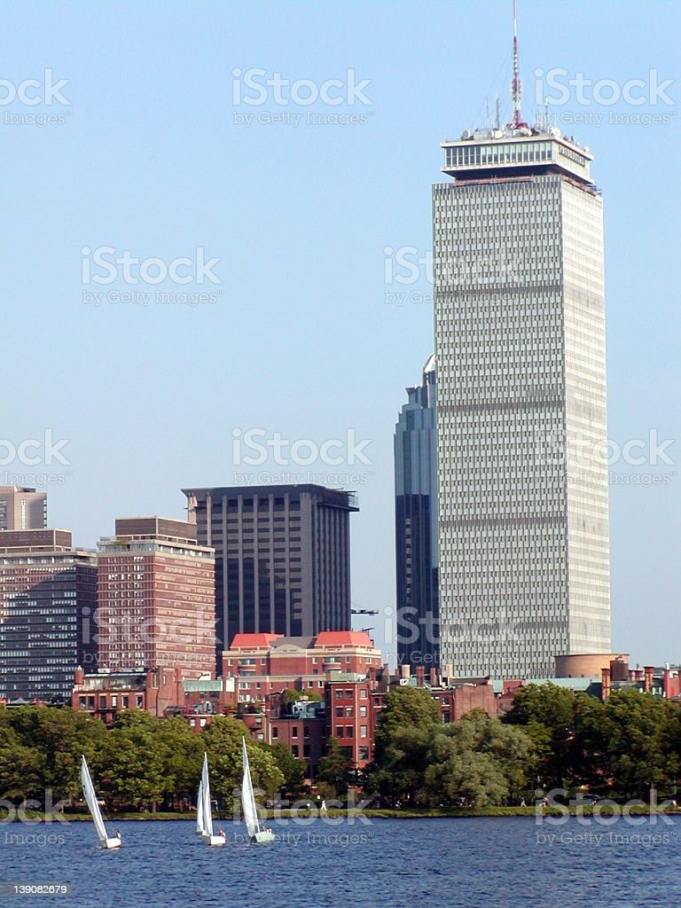 Prudential Tower and Sailboats, Boston, MA royalty-free stock photo