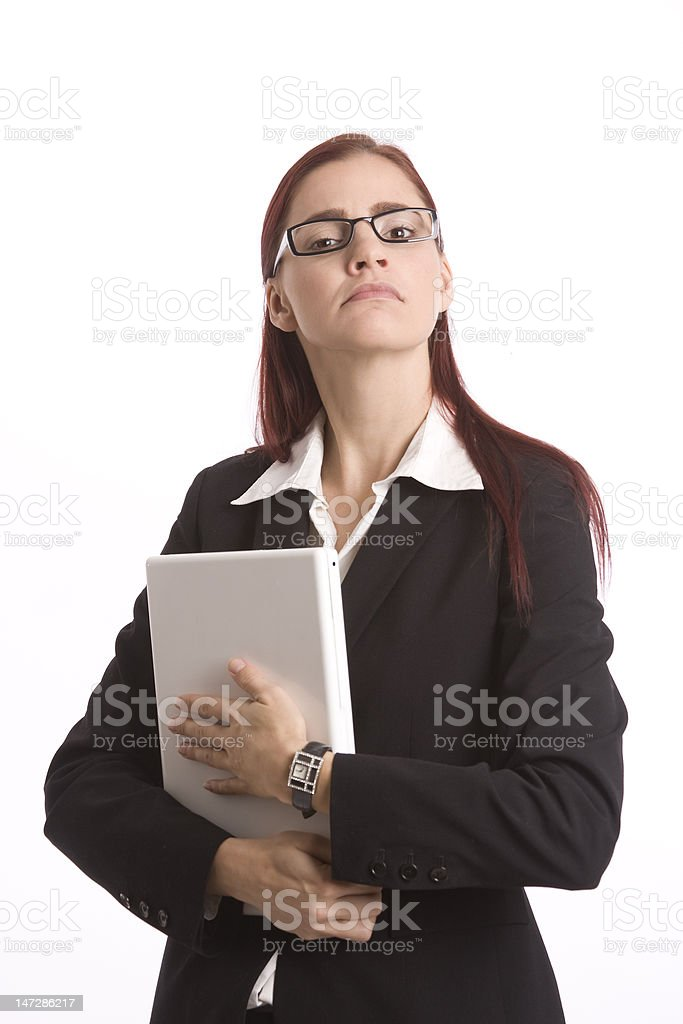 Prudish businesswoman stock photo