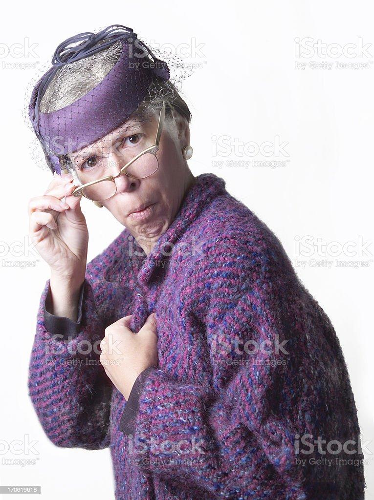 prudish old lady stock photo