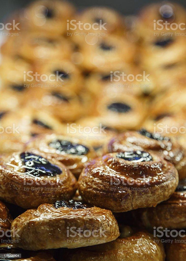 Prune Danish in Bakery Case royalty-free stock photo