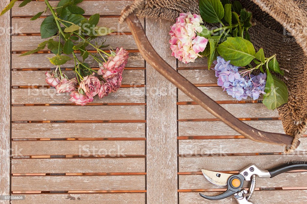 Pruner and flowers in basket  on weathered wooden table stock photo