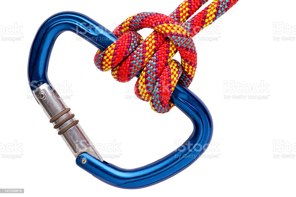 Prusik on carabiner with clipping path stock photo