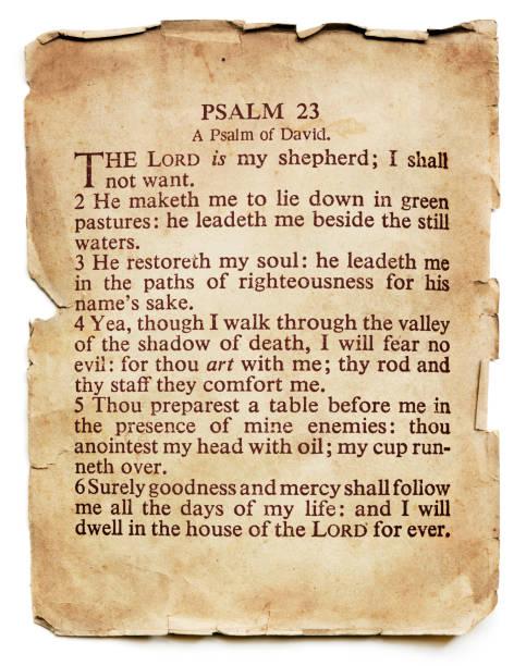 psalm 23 auf dem alten papier isoliert - psalm stock-fotos und bilder