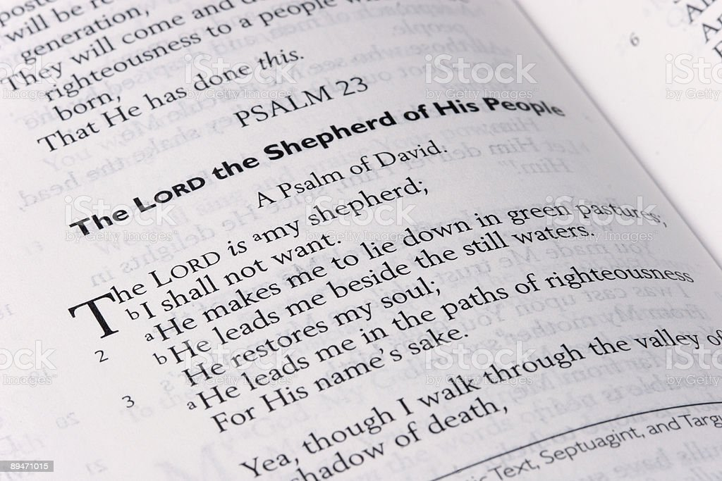 Psalm 23 Scripture stock photo