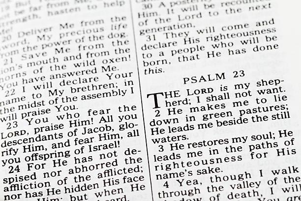 psaltery 23 text von old testament der bibel - psalm stock-fotos und bilder