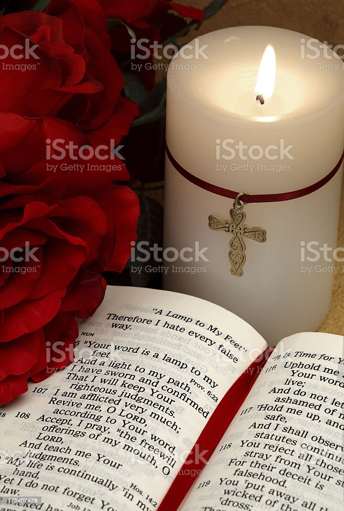 Psalms Bible Scripture With Candle And Roses Stock Photo