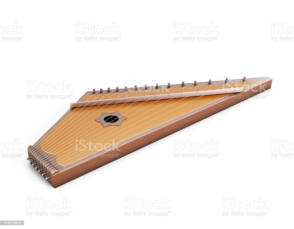 Psaltery under the white background stock photo