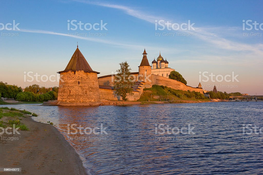 Pskov Kremlin and Trinity cathedral in sunset light royalty-free stock photo