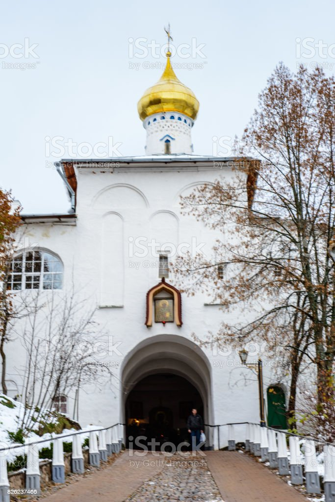 Pskov-Caves Monastery, a Russian Orthodox male monastery, located in Pechory, Pskov Oblast in Russia. stock photo