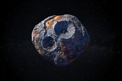 16 Psyche the large metallic asteroid ideal for space mining. NASA imagery was used for this composite from  https://solarsystem.nasa.gov/asteroids-comets-and-meteors/asteroids/16-psyche/in-depth/