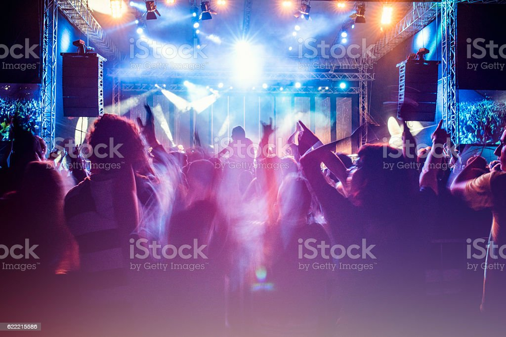 Psychedelic concert crowd stock photo