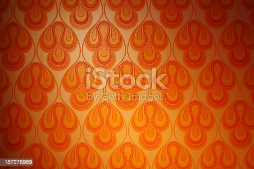 istock Psychedelic funky retro 1970s wallpaper 157278989