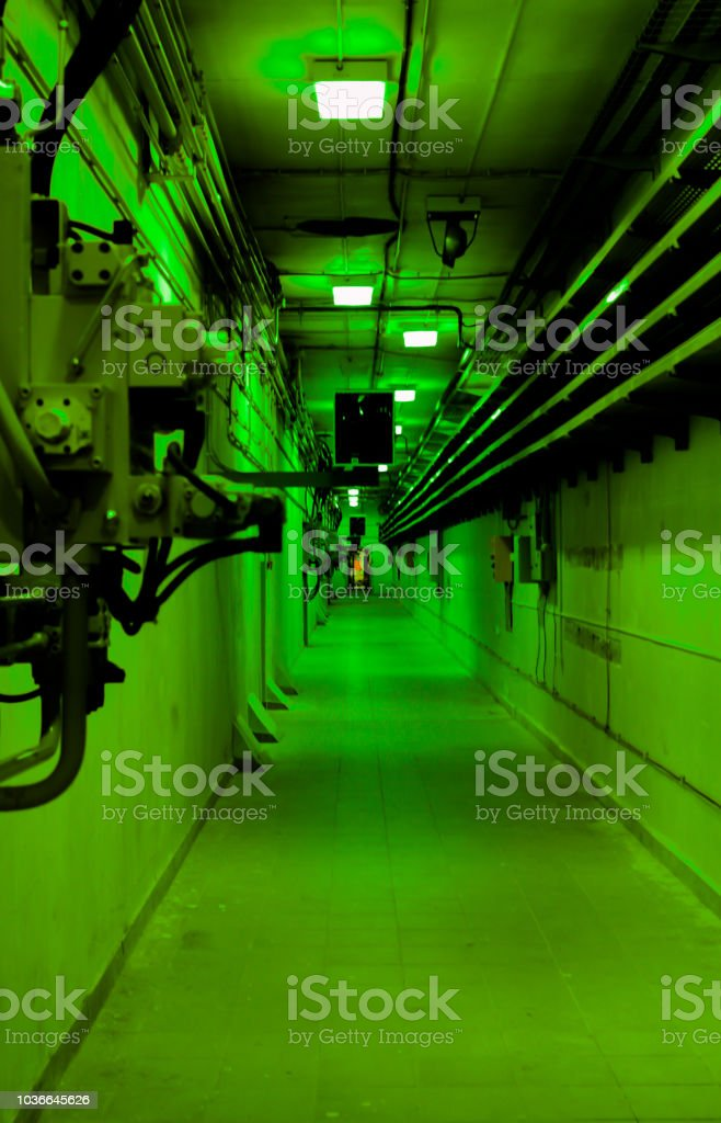 Psychedelic Green Deep In Underground Tunnel With The Door At The